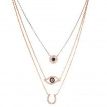 Horseshoe And Evil Eye Necklace