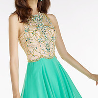 Sleeveless High Neck A-Line Prom Dress by Alyce