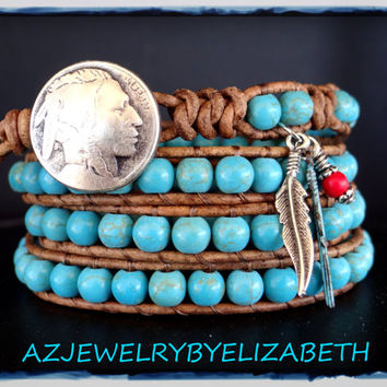 Turquoise Bracelet, Native American, Southwestern Jewelry, Wrap Bracelet, Leather Bracelet, Turquoise Jewelry, Turquoise Bracelets.*