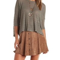 Olive Slouchy Textured Knit Dolman Top by Charlotte Russe