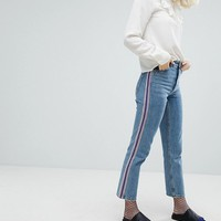 Monki Side Stripe Mom Jeans at asos.com