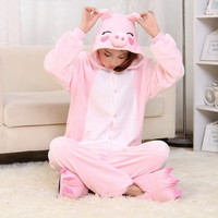 2015 Halloween Costumes Adult Unisex Adult Pajamas Adult Animal Pyjama Sets pink pig Cartoon Onesuits Cosplay Costume Sleepwear
