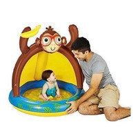 Baby Boys Monkey Pool Blow Up Sun Shade Water Fun Play Day Ages 1-3 New