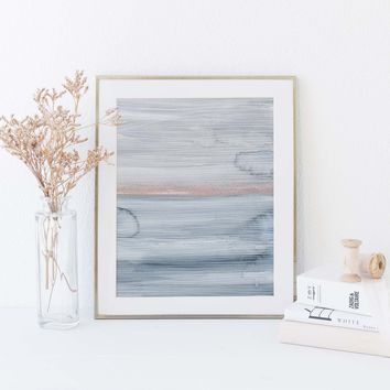 Modern Ocean Abstract Painting Blue, Gray and Pink Wall Art Print or Canvas