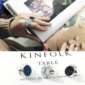Knuckle Ring Real 925 Silver Tur-quoise Anillos Jewelry Vintage Minimalism Haut Femme Bague Femme Aneis Punk Rings for Women
