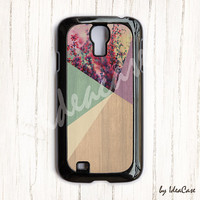 Floral Geometric on Wood Samsung Galaxy S4 Case , galaxy S3 , Flower samsung case , wood samsung case