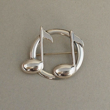 Vintage BEAUCRAFT Sterling Silver Brooch Musical Note Music Notes Symbol SIGNED c.1960's