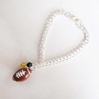 Handmade Football Charm Bracelet, Polymer Clay Football, Football Jewelry, Sculpey Football, Sports Jewelry, Sports Bracelet, NFL Jewelry