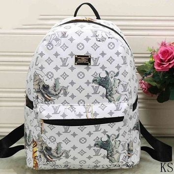DCCKON LV Fashion Leather Daypack Travel Bag School Bag Bookbag Backpack I-MYJSY-BB Tagre-