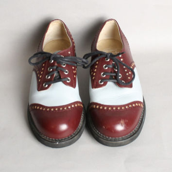 90s FLUEVOG OXFORDS / 2-Tone Leather Lace Up Shoes, 8.5