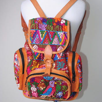 Shop Leather Tribal Backpack on Wanelo