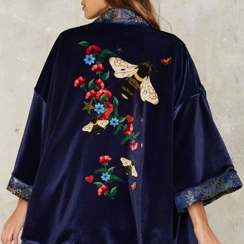 Jaded London Ren Reversible Jacquard Kimono