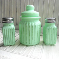 Salt and Pepper Shaker With Sugar Bowl Shabby Chic Mint or Sea Green Hand Distressed Picnics Gift Giving Kitchen Home Decor