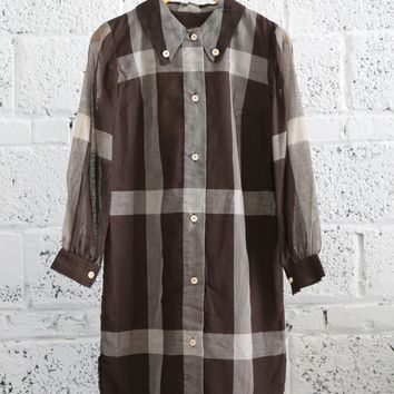 1960s Sheer-sleeve Plaid Button-down Shirt Dress