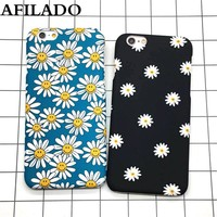 Fashion Cartoon Flower Daisy Sunflower Hard Matte Plastic Back Cover for IPhone 5s 5 SE Cases Ultra Thin Phone Shell Capa Coque