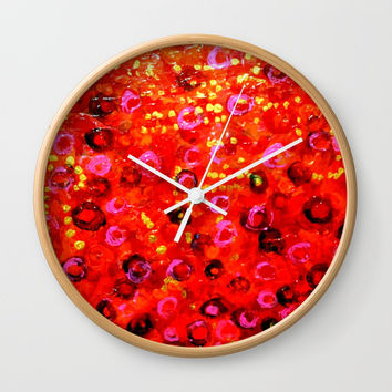 Aboriginal Art - Finger Painting Wall Clock by Chris' Landscape Images & Designs