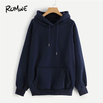 ROMWE Raglan Sleeve Kangaroo Pocket Drawstring Hoodie Women Casual Autumn Navy Hooded Full Sleeve Ladies Spring Plain Sweatshirt