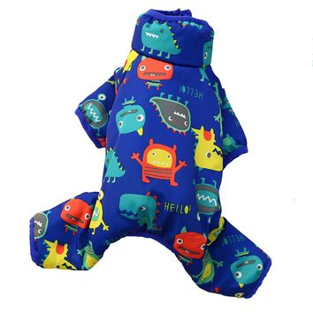 Blue/Red Winter Pet jumpsuit coat Teddy cat clothes puppy clothing belly design warm coat overall for small puppy pet