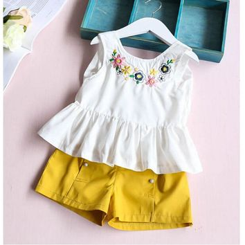 Flower T-shirt Tops+Shorts Pant For Toddler Kids