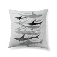 Gray sharks Throw Pillow