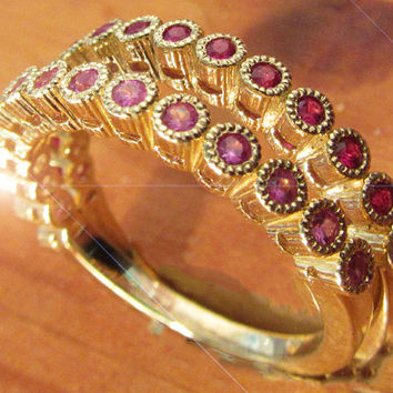 2 Anniversary Gifts, 2 Eternity Rings, 14K Yellow gold with 15 stones each Pink Sapphires and Rubies