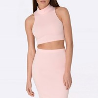 Miley Baby Pink High Neck Crop Top & Skirt Set - Womens two piece sets | South Avenue | Fashion