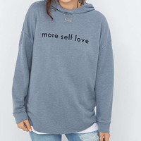 BDG More Self Love Blue Hoodie - Urban Outfitters