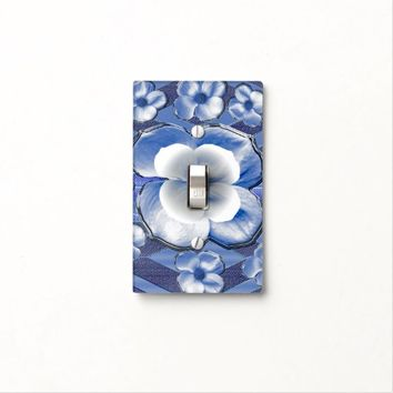 Blue Dogwood Flowers Light Switch Cover