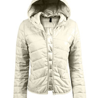 LE3NO Womens Lightweight  Zip Up Puffer Jacket with Hood (CLEARANCE)