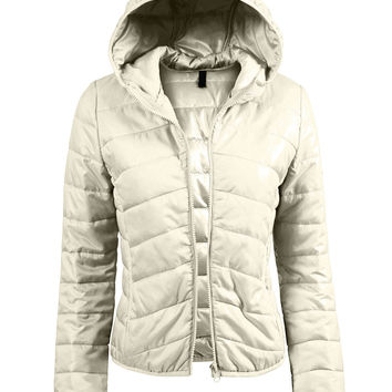 LE3NO Womens Lightweight  Zip Up Puffer Jacket with Hood