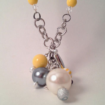 Yellow and gray bauble bead charm long necklace