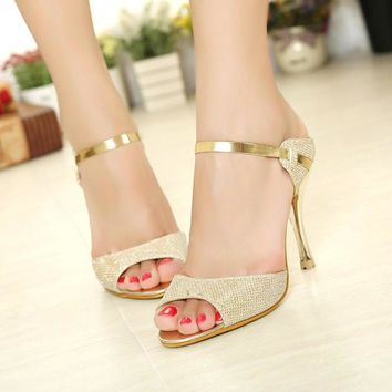 Gold Sandals with Heels