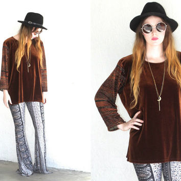 Vintage 90s VELVET BURNOUT Cutout Long Sleeve Brown Top // Shirt // Boho Gypsy Hippie Hipster // Small / Medium / Large