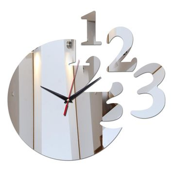 Home decoration acrylic mirror wall clock safe modern design large digital  watch sticker freeshipping