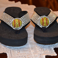 Black wedge Flip Flops with Yellow Softball by BlingBlingbyCyndi