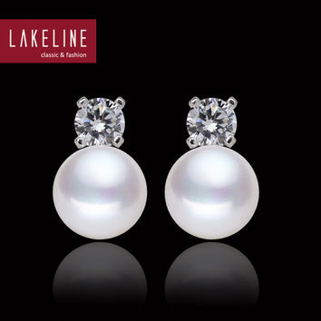 CZ Diamond And Real Pearl Earrings Round Button White Genuine Natural Pearl Earring Freshwater Pearl Jewelry Earrings For Women