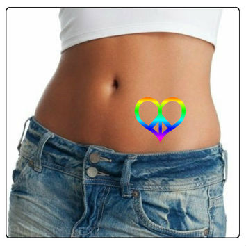 Temporary Tattoo 2 Rainbow Heart Peace Sign Waterproof Fake Tattoos Thin Durable