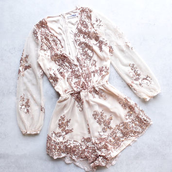 reverse- life of the party { rose } gold sequin romper