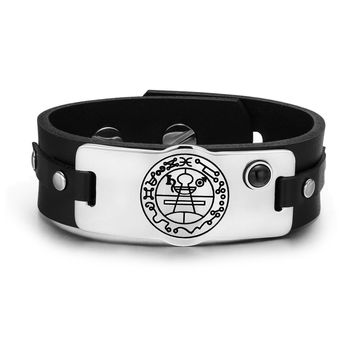 Secret Seal of Solomon Protection Magic Powers Amulet Black Simulated Onyx Leather Bracelet