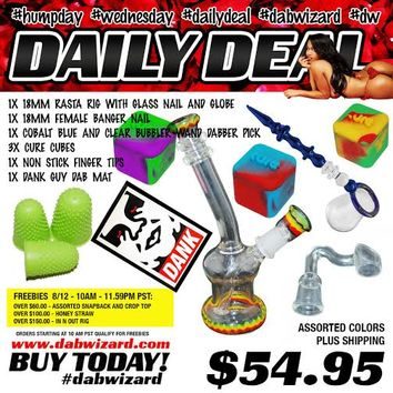 DAILY DEAL 08/12/2015: 1x 18mm Rasta Rig with Glass Nail and Globe + 1x 18mm Female Banger Nail + 1x Cobalt Blue and Clear Bubbler Wand Dabber Pick + 3x Cure Cubes + 1x Non Stick Finger Tips + 1x Dank
