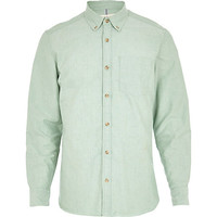 River Island MensLight green yarn dye Oxford shirt