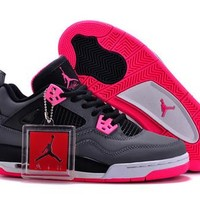 Hot Nike Air Jordan 4 Women Shoes GS Hyper Black Grey Pink
