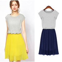 Cap Sleeve High-Waisted Pleated Casual Dress