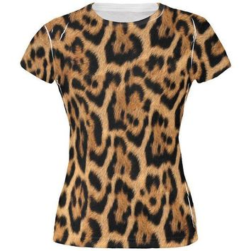 CREYCY8 Halloween Leopard Print Costume All Over Juniors T Shirt
