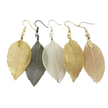 Rare Natural Bohemian Real Leaf Long Earrings Unique for Women by Ritzy