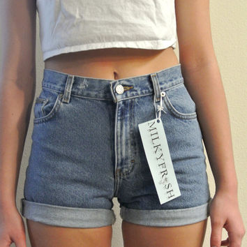 High Waisted Shorts Calvin Klein Cuffed Denim Milky by ShopMilky
