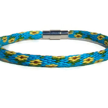 NEW-- sunflower kumihimo bracelet with stainless steel magnetic clasp