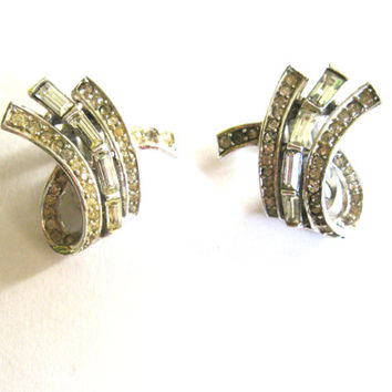 Champagne Clear Crystal Silver Earrings 1960s