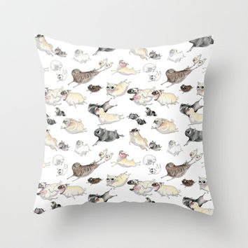 Pugs on the Run! Throw Pillow by InkPug   Society6