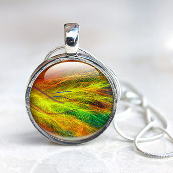 Feather Photo Necklace Yellow, Red and Green Wearable Art Fantasy Feather, Psychedelic colour. Macro feather Photo Pendant Round Glass Tile